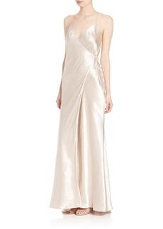 ABS Satin Wrap Gown