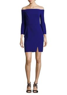 ABS Scuba Off-The-Shoulder Sheath Dress