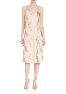 ABS Sequin Beaded Slip Dress