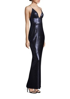ABS Sequin Deep V-Neck Gown