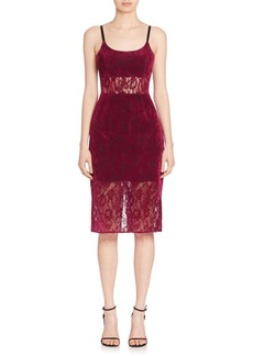 ABS Sheer Panel Lace Sheath Dress