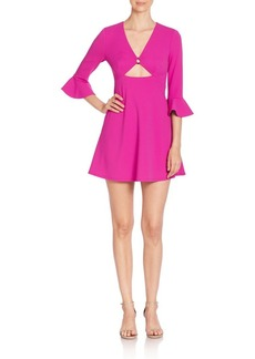 ABS Solid Bell Sleeve Dress with Cutouts