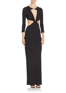 ABS Solid Long Sleeve Dress with Cutouts