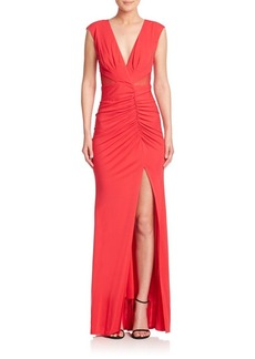 ABS V-Neck Ruched Jersey Gown