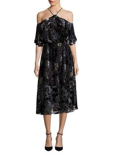 ABS Velvet Burnout Cold-Shoulder Dress