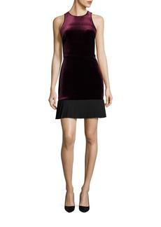 ABS Velvet Pleated Hem Dress