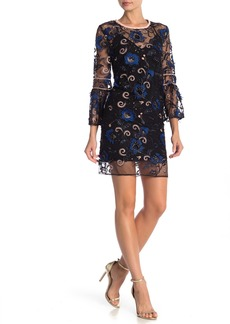 ABS Blaire Embroidered Lace Shift Dress