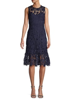 ABS Embroidered Lace Knee-Length Dress