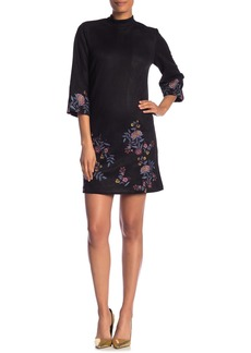 ABS Faux Suede Floral Embroidered Trim Dress