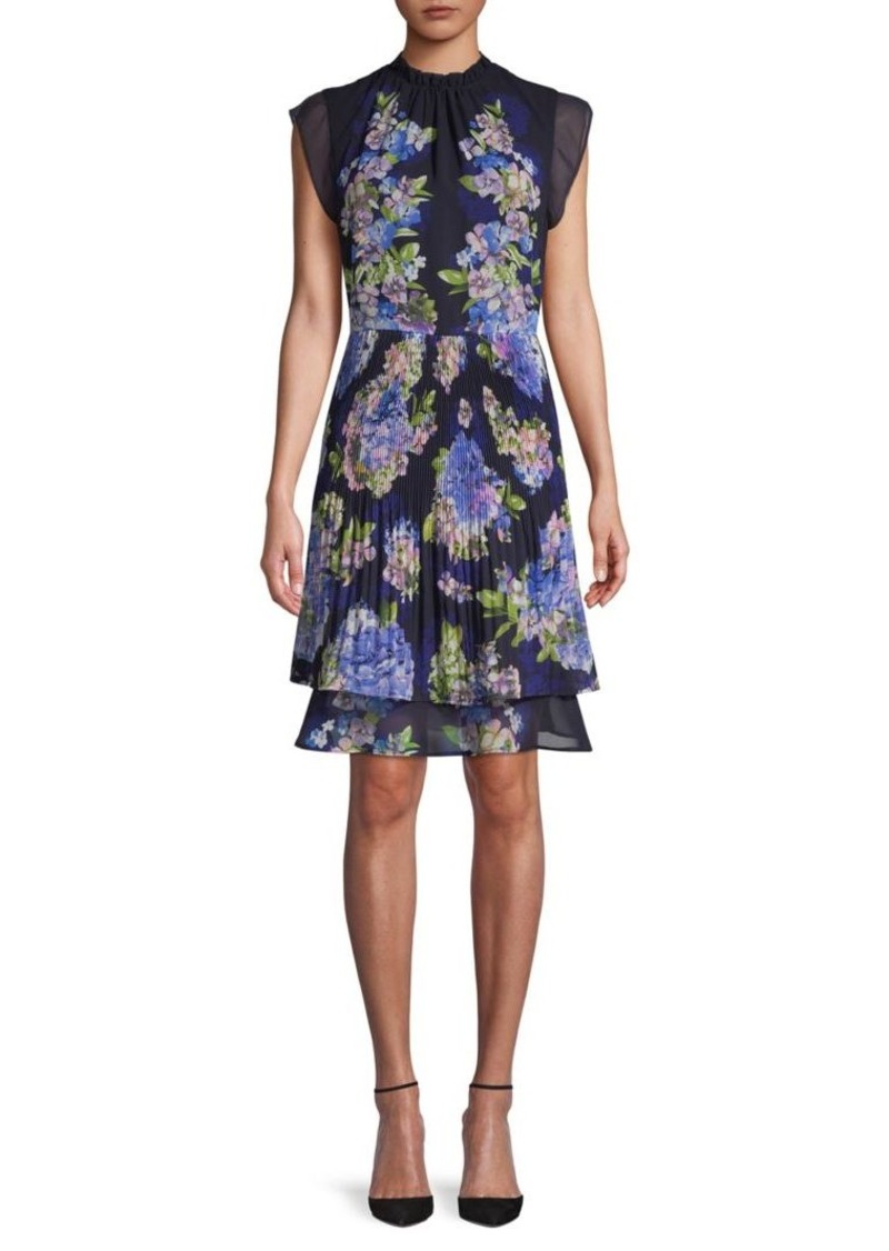 ABS Floral Pleated A-Line Dress
