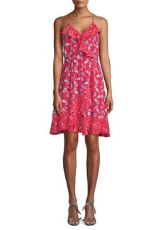 ABS Floral Ruffle A-Line Dress