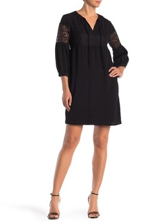 ABS Lace Insert Long Sleeve Dress