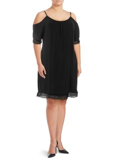 ABS Plus Lace-Trimmed Cold-Shoulder Dress