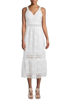 ABS Lace-Trimmed Midi Dress