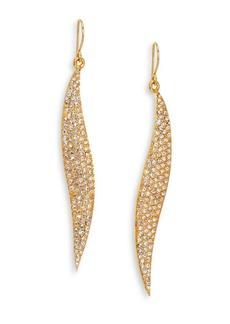 ABS Pavé Wave Drop Earrings/Goldtone