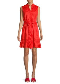 ABS Pleated Collar Button-Front Dress