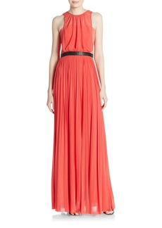 ABS Pleated Sheer Overlay Gown