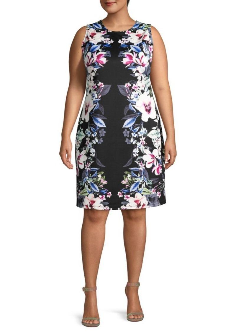 ABS Plus Floral-Print Sheath Dress