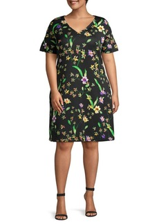 ABS Plus Floral-Print Shift Dress
