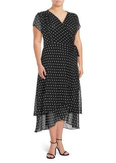 ABS Plus Polka Dot Wrap Dress