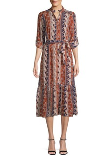 ABS Printed Midi Button-Front Dress