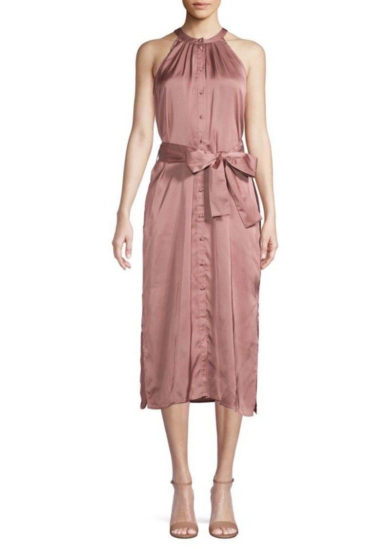 ABS Self-Tie Button-Front Dress