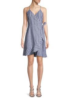 ABS Striped Linen & Cotton Blend Wrap Dress