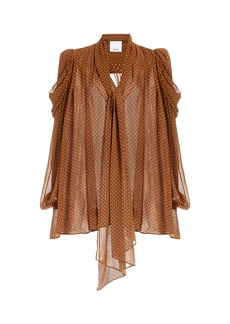 Acler - Women's Swansea Puff-Sleeve Polka-Dot Georgette Tie-Neck Top - Brown - Moda Operandi