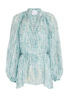 Acler Astone Pleated Floral Chiffon Blouse