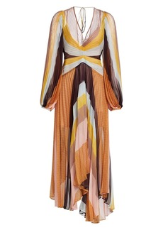 Acler Astone Striped Long-Sleeve Pleated Midi Dress