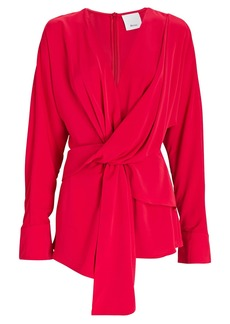 Acler Bercy Draped Tie-Front Blouse
