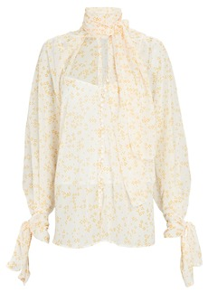 Acler Cathedral Tie-Neck Chiffon Blouse