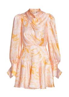Acler Coleman Cowlneck Print Satin Mini Dress