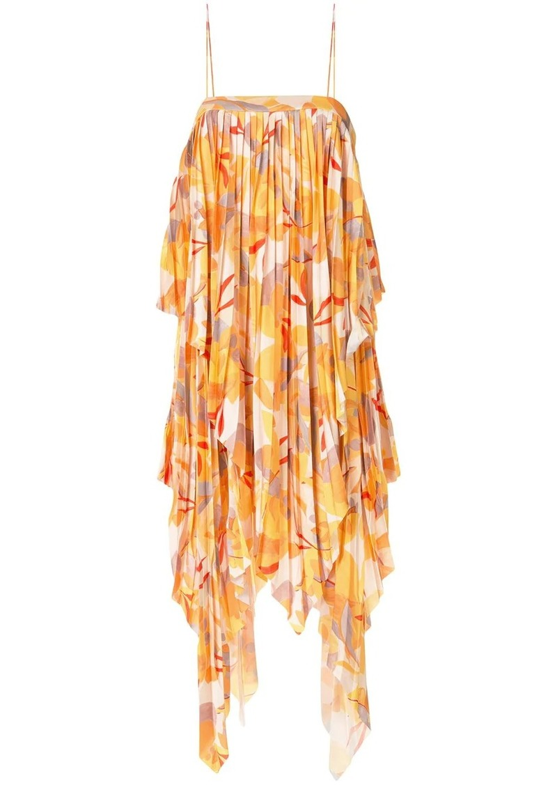 Hooper abstract-print pleated dress