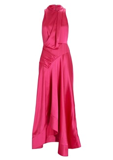 Acler Palmera Draped Satin Maxi Dress