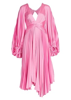 Acler Palms Long-Sleeve Pleated Midi Dress