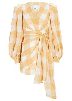 Acler Sutherland Gingham Wrap Mini Dress