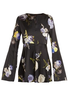 Acne Studios Bahari open-back floral-print satin top
