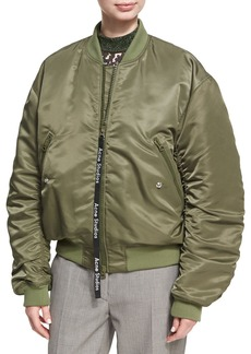 Acne Studios Clea Ruched Nylon Bomber Jacket