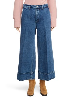Acne Studios Crop Wide Leg Jeans (Dark Blue)