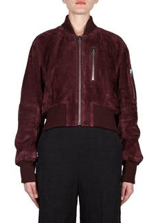 Acne Cropped Suede Bomber Jacket
