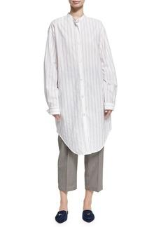 Acne Studios Deide Pinstripe Cotton Tunic Shirt
