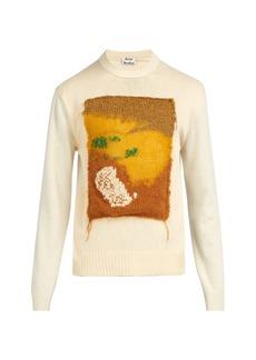 Acne Studios Knit-appliqué contrast-panel wool sweater