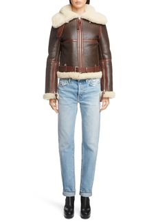 Acne Studios Leather Jacket with Genuine Shearling Trim