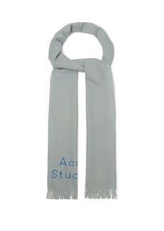 Acne Studios Logo-embroidered fringed wool scarf
