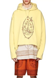 Acne Studios Men's Orinak Front Salmon Embroidered Cotton Hoodie