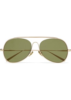 Acne Studios Spitfire aviator-style gold-tone mirrored sunglasses