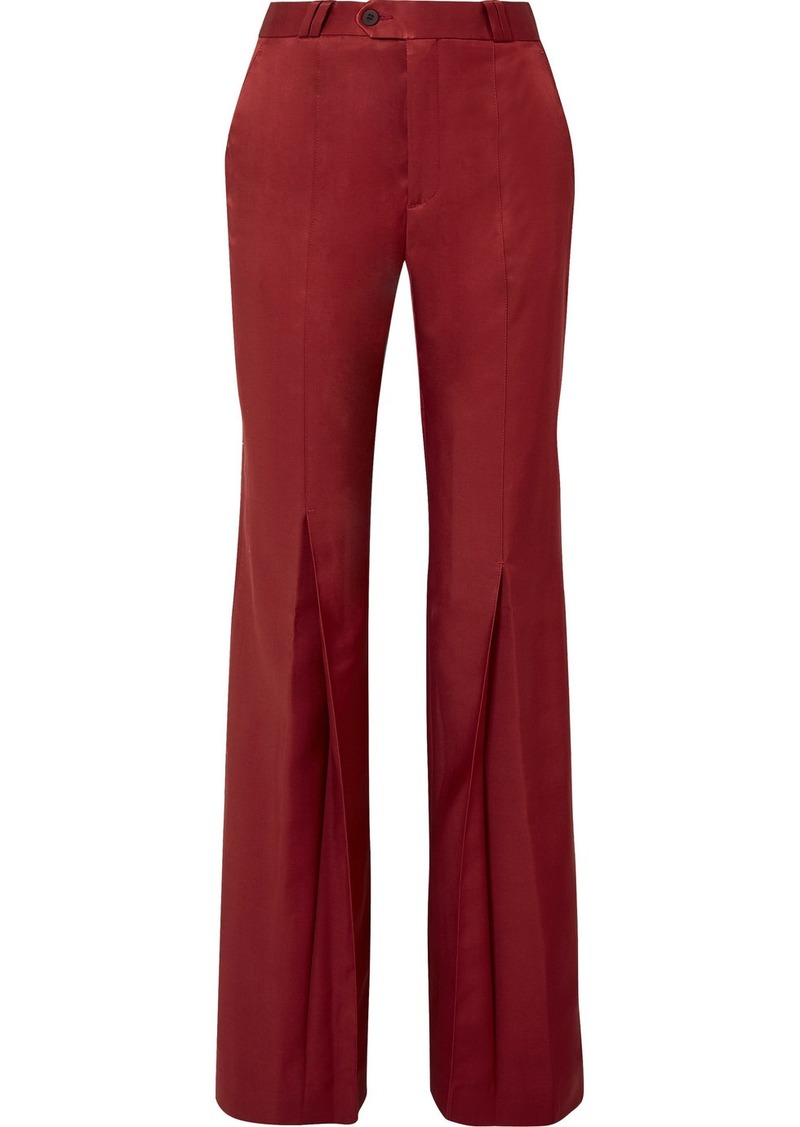 Acne Studios Tohny Pleated Satin-twill Flared Pants