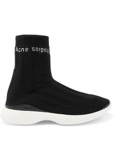 Acne Studios Batilda Mesh-trimmed Logo-jacquard Stretch-knit Sneakers