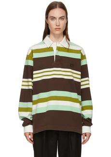 Acne Studios Brown & Green Striped Face Polo